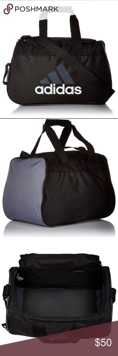 "Black Grey Adidas duffel bag PRICE FIRM. THESE ARE MY BESTSELLERS. CHECK OUT THE OTHER ONES IVE SOLD.❌I DELETE ITEMS EVERYDAY ❌  ❌PRICE FIRM ❌  THESE SELL QUICK ❗️ NEW ADIDAS BLACK DUFFLE BAG  FITS IN GYM LOCKER 18.5"" ×11"" ×10"" ADJUSTABLE SHOULDER STRAP  PADDED HAUL HANDLE  NO FREE SHIPPING  NO HOLDS  ❌BUNDLE TO SAVE: ONLY DISCOUNT ON SHIPPING! ❌  Black Adidas duffle sport bag gym outdoors gym apparel socks basketball soccer softball tennis volleyball adidas Bags Shoulder Bags"