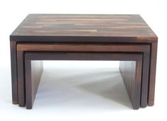 nesting tables made from salvaged wine barrel staves