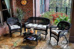 Portside 4 Piece Wicker Lounge Seating Set - Dark Roast