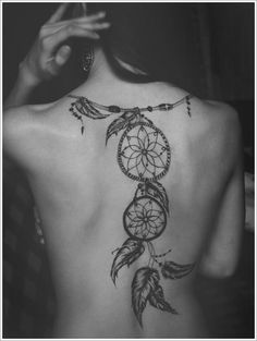 Meaning of Dream catcher Tattoos: for a feeling security and well being, (...) to show respect and love for an ancient tradition and set of beliefs that could turn their inner fears into something so beautiful and creative