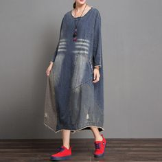Type: Dress Collar type: Round Neck Waist type: Loose Pattern: Plain Material: Cotton Season:Spring,Autumn ,Winter Color:As the picture Size:One Size Demin Dress, Linen Shirt Dress, Linen Dresses, Blue Jean Dress, Spring Dresses Casual, Ripped Denim, Types Of Sleeves, Blue Denim, Boho Fashion