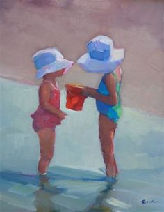 """Sisters in Sunhats"" - Original Fine Art for Sale - © Maryann  Lucas"