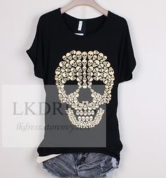 Skull T- Shirt Length:  27 ''  Bust : 41 '' Material : 90 % polyester Color : Black  / Blue/ Red /  Green