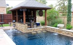 Dry Stack - Custom Swimming Pool - North Richland Hills, TX traditional pool/ I like how this combines a swim up bar and a sunken area as well Small Backyard Pools, Backyard Pool Designs, Small Pools, Swimming Pools Backyard, Swimming Pool Designs, Outdoor Pool, Small Patio, Outdoor Bars, Small Backyard Design