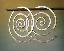 "Modern open hoop earrings.  Large sterling silver or 14k gold filled spiral jewelry. Big 1 1/4"" swirls. Artisan wirework.  Whirlwind."