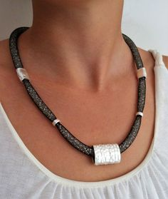 Black urban mesh tube necklace, sparkling fashion statement jewelry, modern silhouette necklace, mesh handmade black and silver necklace by MyERA4u on Etsy