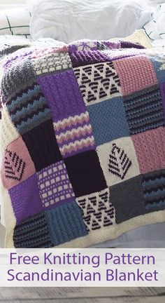 Free Knitting Pattern for Scandinavian Sampler Blanket - Throw inspired by traditional Nordic patterns in colorwork, slip stitches, and mock cables designs. Size: x Aran weight yarn. Great for stashbusting. Designed by Nicola Valiji. Kit is also available Knitting Patterns Free, Free Knitting, Free Pattern, Ravelry, Knitted Teddy Bear, Easy Knitting Projects, Aran Weight Yarn, Ear Warmer Headband, Woven Wrap