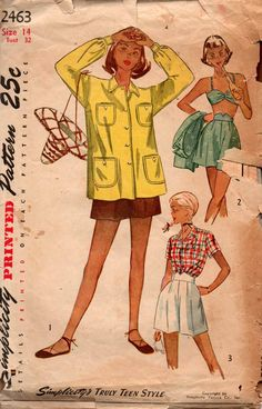 Simplicity 2463 Womens Beachwear Bra Top Pinup Shorts Beach Jacket 40s Vintage Sewing Pattern Size 14 Bust 32 inches