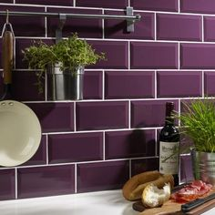 Purple Kitchen Backsplash Tiles - Kuchnia Styl Klasyczny Zdja™cie Od Small World Design to Her. White Bathroom Tiles, Purple Bathrooms, Purple Rooms, Kitchen Wall Tiles, Ceramic Wall Tiles, Kitchen Backsplash, Cement Tiles, Mosaic Tiles, Colourful Kitchen Tiles