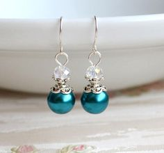 Teal Bridesmaid earrings Teal earrings Teal jewelry Teal Bridesmaid gift set Will You be my bridesmaid proposal Teal Wedding jewelry This beaded bridesmaid jewelry set of necklace and earrings is made from glass pearl beads, antiqued silver and faceted glass crystals. Earrings
