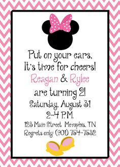 PRINTED or DIGITAL Minnie Mouse Toodles Pink Chevron Birthday Invitations 5x7 Customized Minnie Mouse Invites Design 0.82 each