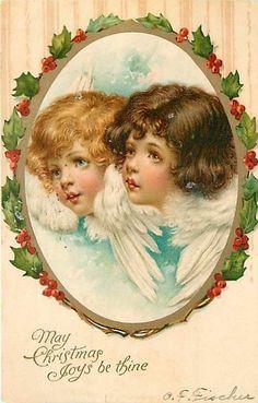 Christmas Nister No 545 Frances Brundage Two Angel Heads Inside Holly Frame | eBay