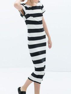 Stripe Backless Bodycon Dress - Fashion Clothing, Latest Street Fashion At Abaday.com