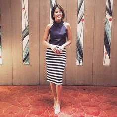 Gretchen Ho beats the summer heat in a Seven Dials halter top and our Details classic striped skirt.  #ootd #celebrity #style #gretchenho #separates #summerwear #haltertop #stripes #skirt http://tipsrazzi.com/ipost/1509241927404814938/?code=BTx54ljFwJa