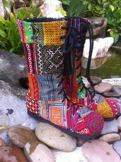 New Sizes Patchwork Womens Boots Boho Combat by SiameseDreamDesign