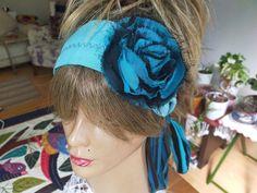 Blue hair band, Blue black cotton, Hippie headband, Gypsy festival clothing, Boho Flower woman, Unique products, Art headband, Women Gift