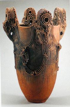 Deep earthen ware pot with hollow rim projections, Jomon, Andouji, Yamanashi Pref. Yamanashi Prefectural Museum of Archaeology Jomon Era, Jomon Period, Ceramic Pottery, Pottery Art, Ceramic Art, Pottery Plates, Slab Pottery, Pottery Studio, Ceramic Bowls
