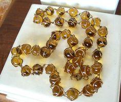 Vintage Amber Glass Pools of Light Necklace by OldTreazureTrunk, $325.00