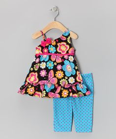 Take a look at this Blue Flower Tunic & Polka Dot Capri Leggings - Infant & Girls by Youngland on #zulily today!