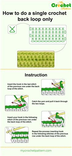 how to do a single crochet back loop only - infographic