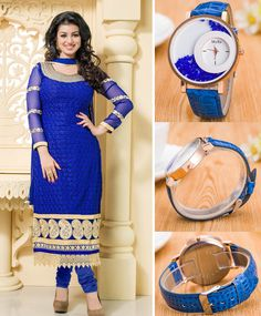 Blue Embroidered Georgette Salwar Suit With Dupatta