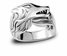 925 sterling silver punk style jewelry wolf ring for men fashion jewelry wisdom symbol rings bands