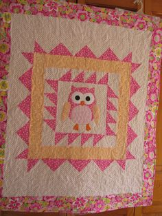 Handmade baby quilt,  pink and white girls quilt, owl nursery decor, crib bedding
