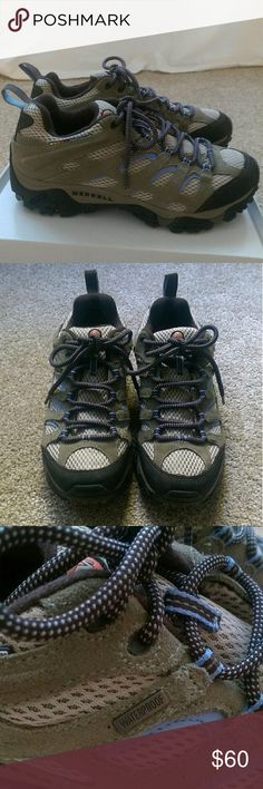 Merrell Moab Waterproof Hiking Shoes Merrell Moab waterproof hiking shoes in great condition.  Part of the upper is leather.  They are a little on the stiff side, not worn a lot. Merrell Shoes Athletic Shoes
