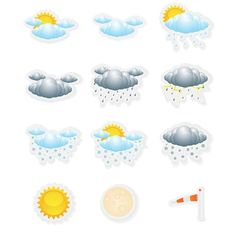 12 Fun weather Stickers - 1 inch wide by up to inch high - great for lunch boxes or anything! by CREEKTEE on Etsy Hello Kitty Clipart, Minnie Mouse Clipart, Magnetic Bumper Stickers, Window Signage, Weather Icons, Holiday Gift Tags, New Sticker, Lol Dolls, Custom Stickers