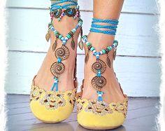 Blue NAUTILUS BAREFOOT sandals Toe Thongs crochet SANDALS Woodland Beach Wedding bare feet Snail Foot jewelry Festival Fairy GPyoga Nautical