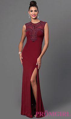 Bead Top Sleeveless Floor Length Dress at PromGirl.com
