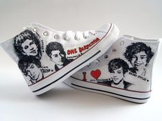 One Direction painted sneakers. Size 38. Unique by atelierChloe