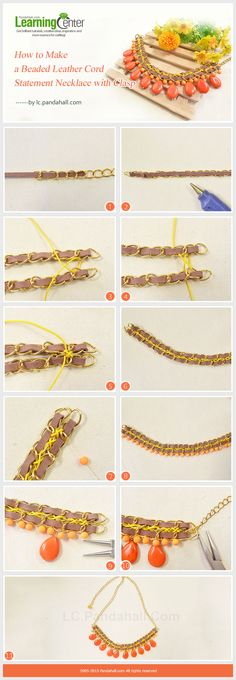 How to Make a Beaded Leather Cord Statement Necklace with Clasp