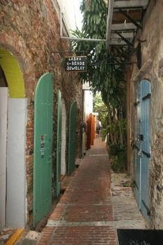 Downtown, one of the alley passages, St. Thomas, Virgin Islands..Lex and I strolled thru here!!