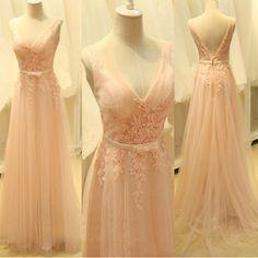 Charming Tulle Prom Dress,V Neck Prom Dresses,Long Prom