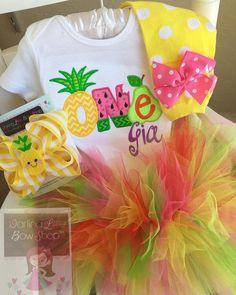 FREE SHIPPING - Tutti Frutti Birthday Outfit, Pineapple Birthday Outfit, Tutti Frutti Party -- top, tutu, leg warmers and bow/headband by DarlingLittleBowShop on Etsy https://www.etsy.com/listing/531592327/free-shipping-tutti-frutti-birthday