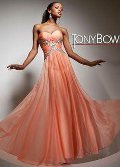 Strapless chiffon prom dress by Tony Bowls Paris.