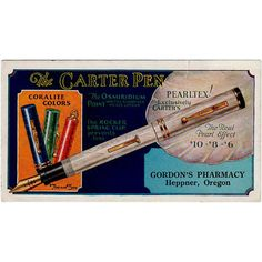 Personalize your desk space and add color and interest by using an old advertising blotter.  Old, Carter Pearltex Pen, Advertising Ink Blotter