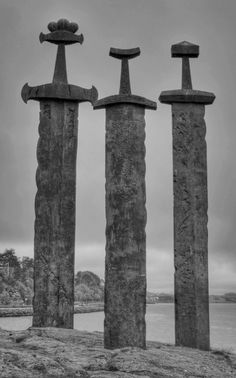 Viking Swords at Stavanger Sword Monument, Stavanger, Norway. used to live nearby this, beautiful monument :) Oh The Places You'll Go, Places To Travel, Places To Visit, Lofoten, Europa Camping, Statues, Beautiful World, Beautiful Places, Beautiful Norway