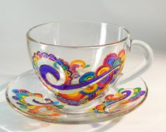Bubbles Tea cup Set Coloured Tea Set by StainedGlassHandmade