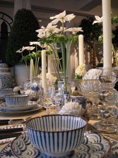 Blue White Dishes Plus Crystal Candle Holders And Tall Fl Makes For An Inviting Buffet Table That S Fun Festive Just Add Mexican Spanish