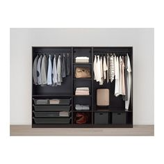 PAX Wardrobe - black-brown, Forsand black-brown stained ash effect - IKEA Door Shelves, Basket Shelves, Shelving, Shelf, Pax System, Closet System, Pax Planer, Powder Coating Wheels, Armoire Pax