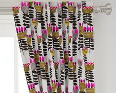 Tropical Monstera Curtain Panel - Boho Tropical Floral by theartwerks - Green Pink Jungle Custom Curtain Panel by Spoonflower Tropical Curtains, Custom Curtains, Rod Pocket, Panel Curtains, Surface Design, Basket Weaving, Landscape Design, Print Design, Vibrant Colors