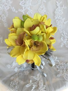 Yellow Orchid Bouquet  Yellow Bridesmaid by MerryMeBouquets