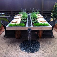 most amazing garden table ever! most amazing garden table ever! In modern cities, it is virtually impossible to sit down inside of a house with an out. Garden Seating, Garden Table, Patio Table, Backyard Patio, Backyard Landscaping, Amazing Gardens, Exterior Design, Outdoor Living, Outdoor Furniture Sets