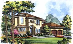 Well designed 5 bedroom Spanish/ Mediterranean style home. Modern Mediterranean Homes, Tuscan Style Homes, Spanish Style Homes, Spanish House, Tuscan House Plans, Luxury House Plans, Dream House Plans, House Floor Plans, Italian Home