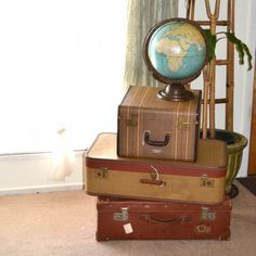 Very cool room decoration idea using vintage luggage as functional art. You could store seasonal clothes in the luggage, then display the luggage! Links to the luggage items are: http://justforyoubabyantiques.com/Fashion-Closet/accessories/luggage-travel