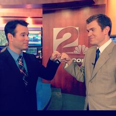 Meteorologist George Flickinger says good-bye to Justin Wilfon before Justin's departure to The NOW KC.
