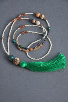 Green tassel necklace, beaded tassel necklace, tassel jewelry