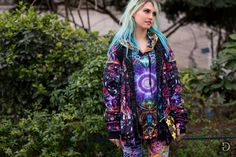 paris, fw16day7, Charlotte Free, October 18 2016, fall winter, street style, dyed hair, green, sporty, edgy, pattern, purple, hoodie, jacket, pants, fantastic